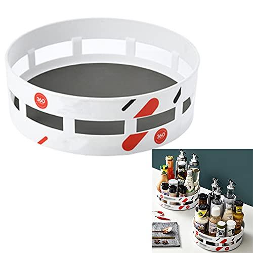 ZYYX Plato Giratorio Organizador para Cocina, Estante De Especias Giratorio De Plástico Libre De BPA, Soporte para Especias Armario, Blanco