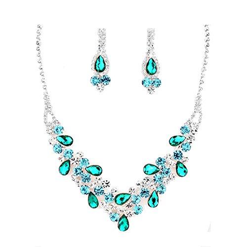 Schmuckanthony, parure di gioielli da sposa, per matrimonio, ballo di fine anno, cocktail, set di collana in argento, orecchini lunghi, cristalli blu, smeraldo, verde e blu chiaro, trasparente