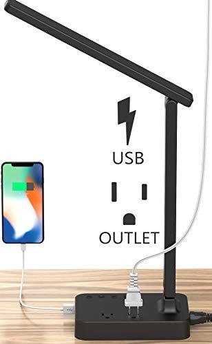 Drevet LED Desk Table Lamp with 1 USB Charging Port and 2 AC Power Outlet, 3 Color Model, 3 Level...