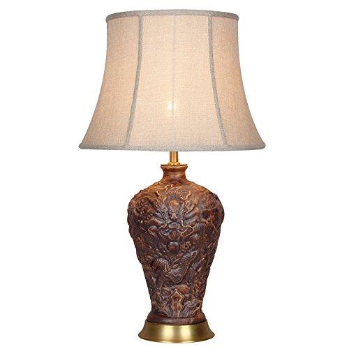 ZWL Lampe de bureau en céramique en céramique rétro de sculpture, salle de séjour en tuba Salle de séjour en salle de cuivre pur Étude Chambre Chaise de table chinoise E27 fashion.z (Couleur : #1)