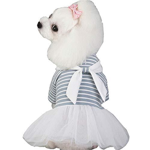 XXDYF Katze Hunde Kleider für Kleine Mädchen, Haustiere Rock Weiß Krawatte Flauschige Prinzessinnen Geburtstag Hochzeit Festival Party Zubehör,Blau,XS