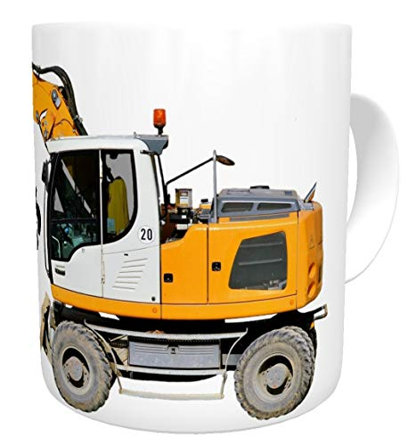Kinderlampenland Kaffee-Tasse Bagger gelb Wunschname personalisiert Geburtstagsgeschenk Becher Arbeitskollege Baggerfahrer