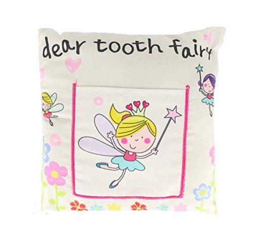 Kids Tooth Fairy Money Pillow Cushion Soft Pocket (White) 20 x 20cm