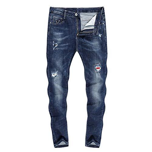 YANGPP Stretch Jeans Herren Skinny Ripped Cropped Pants Slim Dunkelblau Distressed Frayed Streetwear Gepatchte Hip Hop Jeans Für Herren, Blau, 32