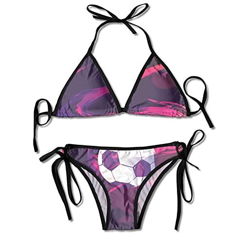Conjuntos de Bikinis de Dos Piezas para Mujer Deslumbrante balón de fútbol Rosa Traje de baño Halter Acolchado Push Up Ropa de Playa para Playa, Piscina, Surf