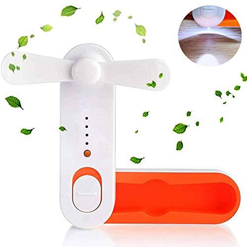 Mini ventilatore USB SHUNING tenuto in mano portatile da viaggio USB Fan, ventilatore palmare elettrico ventilatore a tasca pieghevole ricaricabile con luce a LED (Orange)
