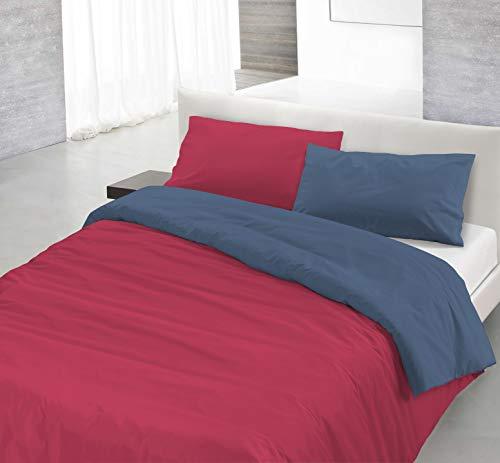 Italian Bed Linen Natural Color Parure Copri Piumino, 100% Cotone, fragola/avio, SINGOLO, 2 Unità