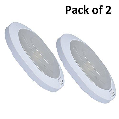 Facon, LED-plafondlampen, binnenverlichting met aan-/uitschakelaar 12 V, 4 W, ovaal voor camper, caravan, aanhanger, boten, schepen en voertuigen, kleur wit