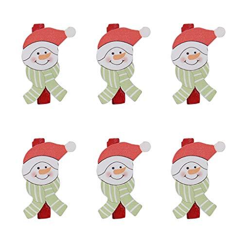 Detrade Weihnachtsschmuck Cartoon Holzklammer DIY Weihnachtsmann Kleine Holzklammer 5 cm auf dem Hanfseil, Buchseiten, Bilderrahmen (C)