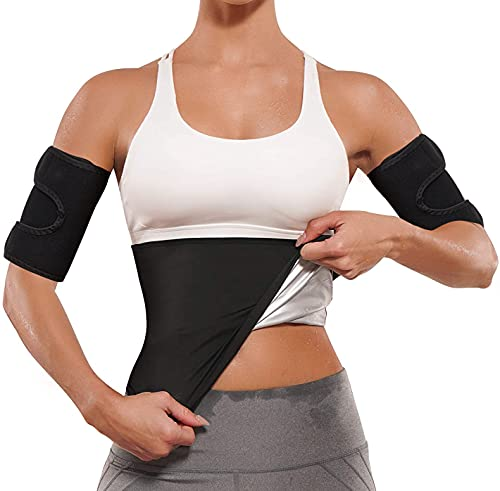 2 in 1 Arm and Waist Trimmer for Women,Sauna Waist Trainer with Arm Shaper,S-6XL Plus Size Sweat Belt Stomach Wraps