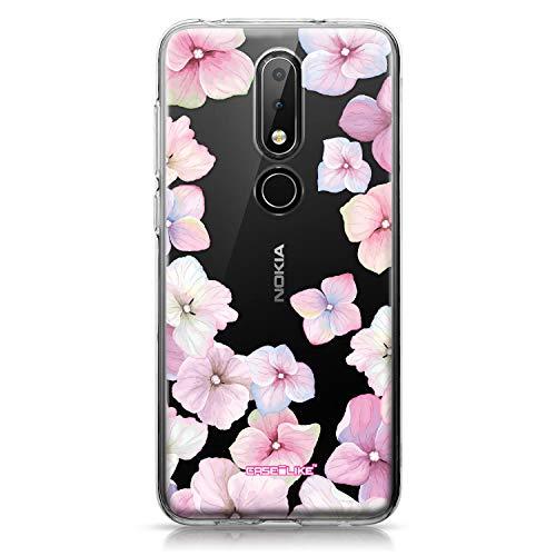 CASEiLIKE Nokia 6.1 Plus Hülle, Nokia 6.1 Plus TPU Schutzhülle Tasche Hülle Cover, Hortensie 2257, Kratzfest Weich Flexibel Silikon für Nokia 6.1 Plus