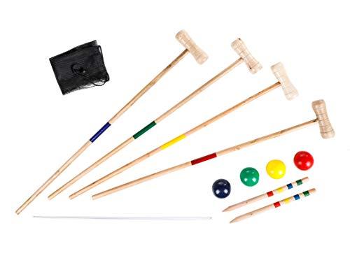 Holz Krocket Set mit Tragetasche - für 4 Spieler - Croque Garten Spiel Schläger Spiel Erwachsene