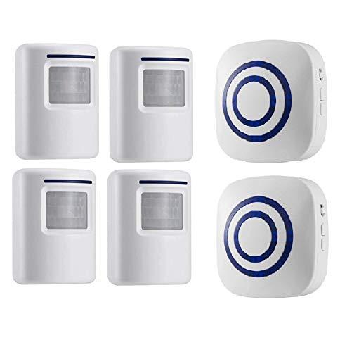Bewegungsmelder Alarmanlage Klingel, HommyFine Kabelloser Haussicherheits Funkalarmanlage Auffahrts-Alarmset mit 38 Glockentöne und Blauer LED Beleuchten