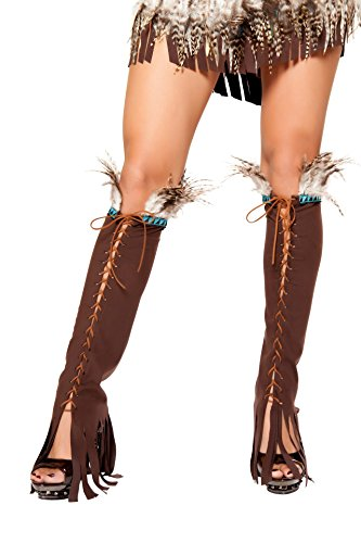 Roma Costume Halloween Party Women's Lace up Suede Leg Warmer with Feather and Fringe Detail Brown – One Size