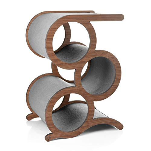 CanadianCat Company ® | Kratzmöbel Montreal mit 3 Ringen - Walnuss & Grauer Teppich - der Designer Kratzbaum für große Katzen