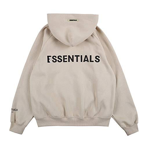 Kxin Fashion Fog Sweater, essentieller Hip-Hop-Pullover, Reißverschluss-Kaputzenpullover für Damen und Herren Gr. M, aprikose