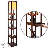 Brightech Maxwell Drawer Edition - Shelf & LED Floor Lamp Combination - Narrow Nightstand with Light Attached - Tower End or Side Table for Office & Bedroom - Havana Brown