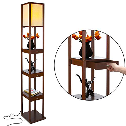 Brightech Maxwell Drawer Edition - Shelf & LED Floor Lamp Combination - Modern Living Room Standing Light with Asian Display Shelves - Havana Brown