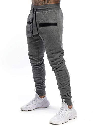 Yidarton Herren Jogginghose Sporthose Baumwolle Sweat Pants Trainingshose Jungen Slim Fit Freizeithose Joggers Streetwear (grau, m)