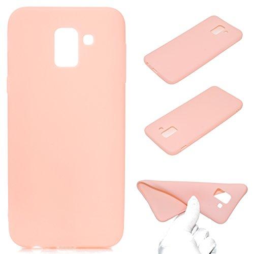 LeviDo Coque Compatible pour Samsung Galaxy J6 2018 Étui Silicone Souple Bumper Antichoc TPU Gel Ultra Fine Mince Caoutchouc Bonbons Couleurs Design Etui Cover, Rose