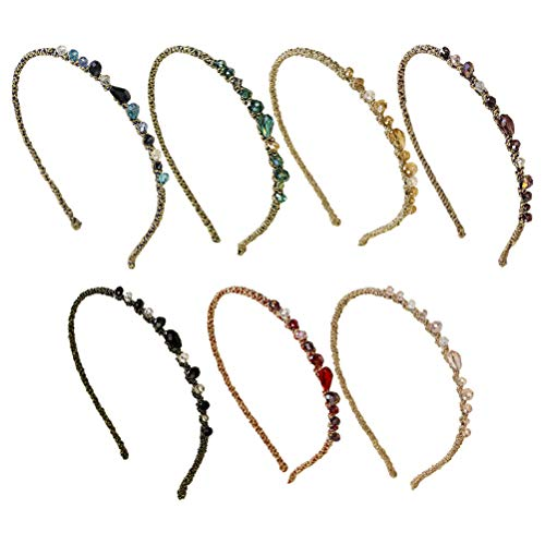 Lurrose Lot de 7 bandeaux en cristal pour femme et fille Couleurs mélangées