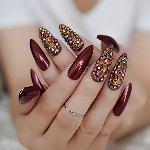 CSCH Faux ongles Rose Hot Red Nail Long Sharp Head Fake Nails 24-Pcs Rose Red Color Curved False Nail Full Designed Nails valse nagels