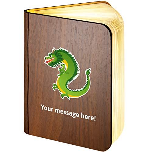 Leselampe aus Holz, magnetisch, zusammenklappbar, mit Drachen-Emoji, holz, Large