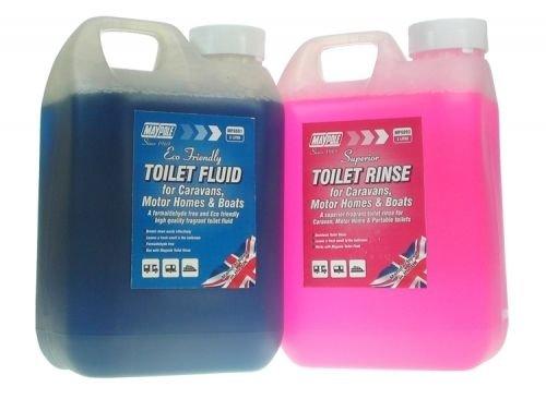 Maypole Eco Friendly Chemical Toilet Fluid & Rinse 2L Twin Pack for Caravan & Motorhome