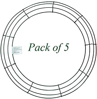 MTB 18 inch Round Wire Wreath Frames Green, Pack of 5 Wreath Forms for Christmas