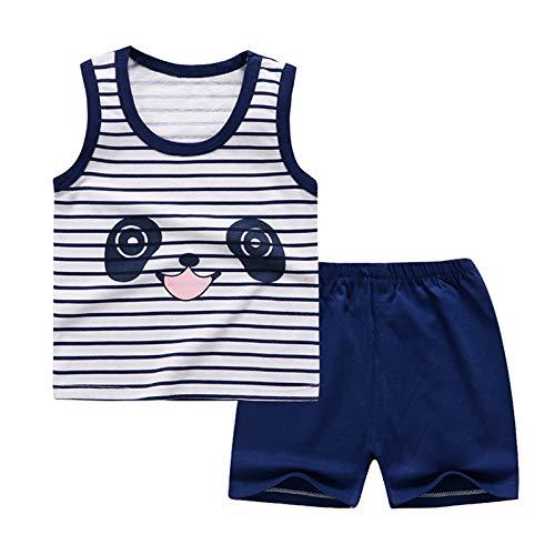 IEFIEL Ropa de Dormir de Animados Dibujos para Niños Pequeños Conjuntos de Pijamas Camiseta Tiburón Sin Manga+Pantalónes Cortos Conjuntos Algodón Azul Rayas 9-18 Months