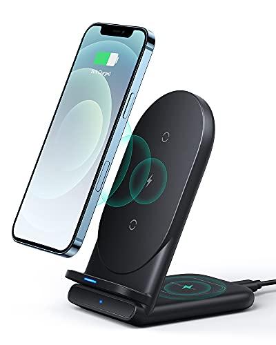 Cargador inalámbrico AUKEY, Soporte de Cargador inalámbrico, Certificado Qi para iPhone 12, 11, 11 Pro, 11 Pro MAX, XR, XS MAX, XS, X, 8 Plus, 10W de Carga rápida Galaxy S20 S10 S9 S8, Note 20