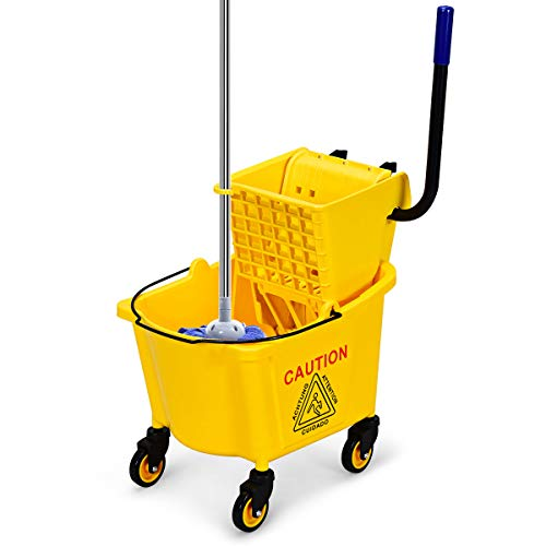 COSTWAY Putzwagen mit Moppresse und -Halterung, Reinigungswagen mit 24L Eimer, Wischmop Eimer fahrbar, Einfachfahreimer, Minifahrwagen für Schulen, Büros, Restaurants, gelb