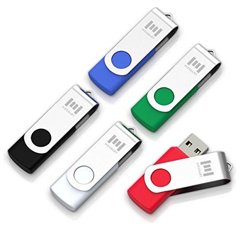 5 X MOSDART 8GB USB2.0 Flash Drive Swivel Bulk Thumb Drives Memory Sticks Jump Drive Zip Drive with Led Indicator,Black Blue Red White Green(8GB,5pack Mix Color)