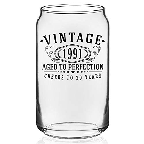 Vintage 1991 Printed 16oz Glass Beer Can   30th Birthday Aged to Perfection   30 years old gifts