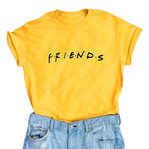 LOOKFACE Women Cute T Shirt Junior Tops Teen Girls Graphic Tees Yellow Small