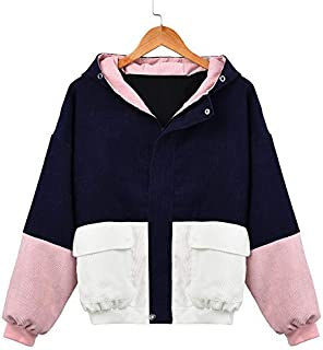 Women's Corduroy Jacket Color Block Warm Jacket Long Sleeve Zipper Hooded Sweatshirt Patchwork Pocket Windbreaker Outwear Overcoat