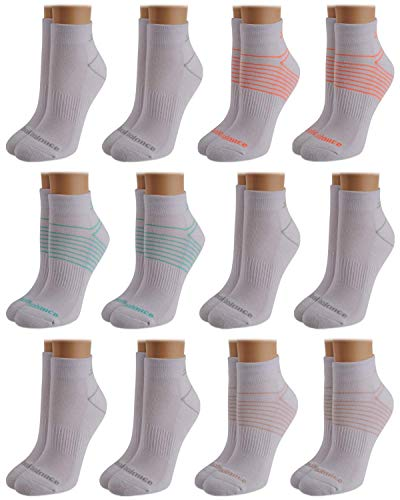 New Balance Women's Athletic Arch Compression Cushion Comfort Solid Quarter Cut Socks (12 Pack), White Assorted, Size Shoe Size: 4-10