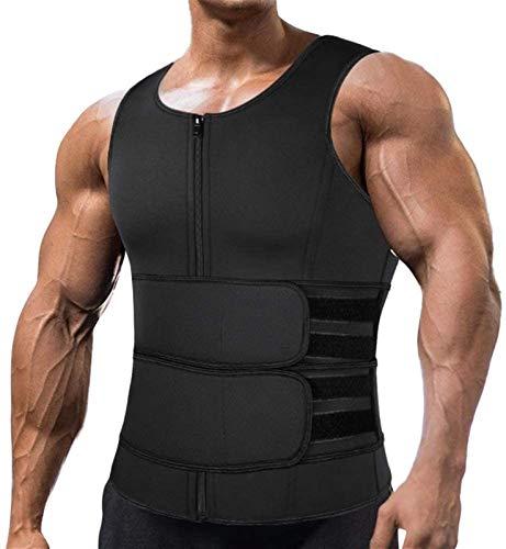 MFFACAI Faja para Hombre Gym Chaleco Camiseta Sauna Sudar De Térmica Faja Reductora Moldeadora para Ejercico Gimnasio En Casa con Cremallera (Size : L)