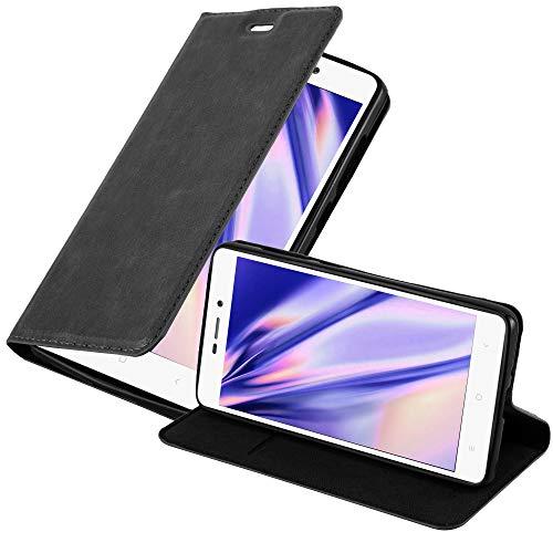 Cadorabo Funda Libro para Xiaomi RedMi 3S en Negro Antracita - Cubierta Proteccíon con Cierre Magnético, Tarjetero y Función de Suporte - Etui Case Cover Carcasa