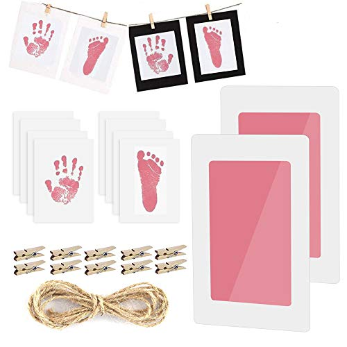 Baby Fußabdruck und Handabdruck, 2 pcs Baby Fussabdruck Set, LATTCURE Baby Handprint mit Papier-Fotorahmen Babyhaut kommt nicht mit Farbe in Berührung für Neugeborene 0-6 Monate (Rosa)
