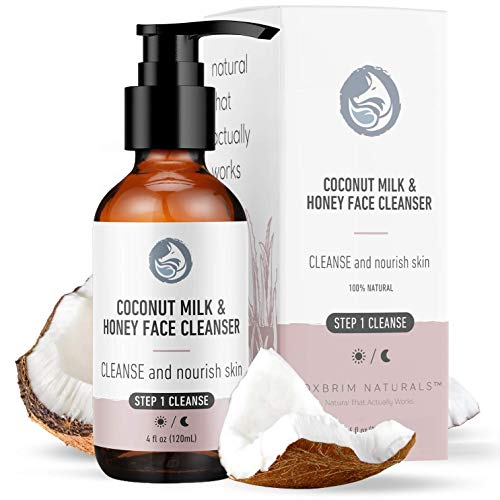 Foxbrim Naturals Coconut Milk & Honey Facial Cleanser with Organic Aloe Vera & Jojoba Oil - Gentle Moisturizing Face Wash Gel, 4oz