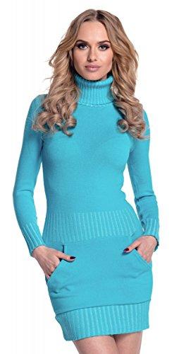 Glamour Empire. Damen Strickkleid Minikleid mit Stehkragen und Tasche vorne. 178 (Cyan, 36-38, ONE Size)