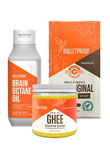 Bulletproof Original Ground Coffee & Brain Octane MCT Oil with Grass-fed Ghee, Perfect for Keto and Paleo Diet, 100% Non-GMO Gourmet Organic Beans, Responsibly Sourced Premium C8 Oil