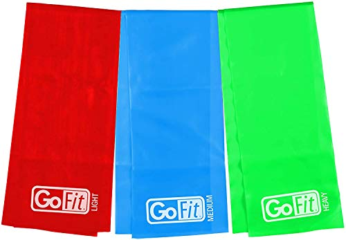 GoFit Latex Power Flat Band Kit for Resistance Band Training, Stretch Resistance Band, Mobility Band