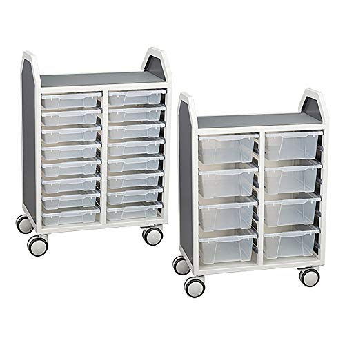 Learniture rofile Series Double-Wide Mobile Classroom Storage Cart with 16 Small Bins, LNT-GNO3041-PKAS-SO