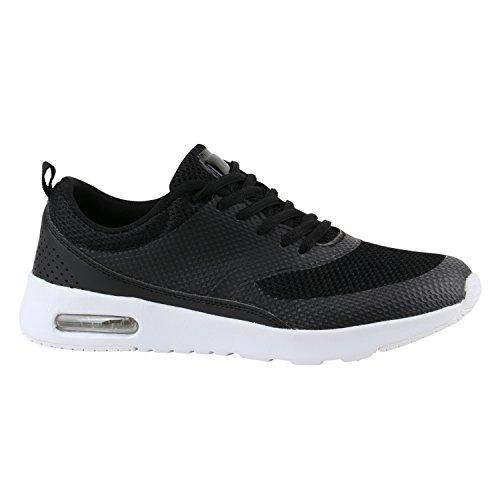 stiefelparadies Damen Herren Sport Runners Lauf Sneakers Neon Schuhe 142362 Schwarz Berkley 40 Flandell