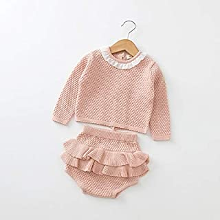 WTYD Family Goods 2 in 1 Baby Autumn and Winter Knit Round Neck Ruffled Long-Sleeved Sweater + Shorts Set, Height:70cm(Pin...