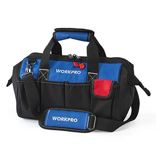 WORKPRO 14-Inch Tool Bag Organiser, Small Tool Bag, Muti-Purpose Wide Open Mouth Tool Storage Bag with Adjustable Shoulder Strap