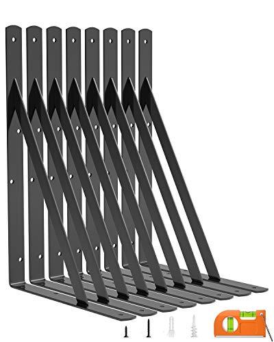 LuckIn 8-Pack Shelf Bracket 14 Inch for Floating Shelf, Heavy Duty Wall Mount L Bracket, 90 Degree Triangle Corner Bracket with Gusset-Black
