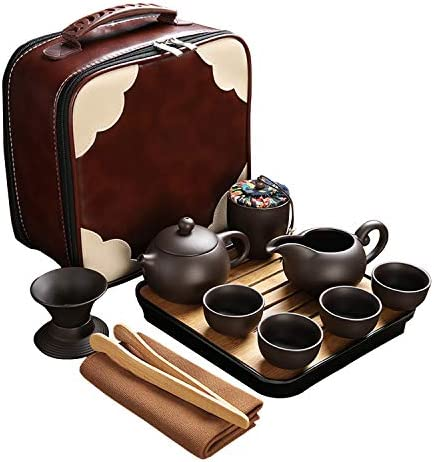 CAISANG Travel Tea Sets 12 PACK Ceramic Teapot Chinese Tea Pot Cup Set with Tray Infuser Purple product image
